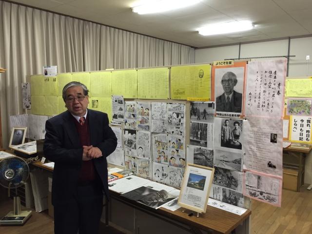 ⇒ 雄湊歴史(郷土)資料館にて解説していただいた元校長の福田先生